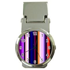 Fun Striped Background Design Pattern Money Clip Watches