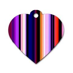 Fun Striped Background Design Pattern Dog Tag Heart (one Side)