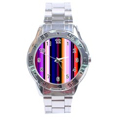 Fun Striped Background Design Pattern Stainless Steel Analogue Watch