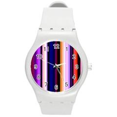 Fun Striped Background Design Pattern Round Plastic Sport Watch (m)
