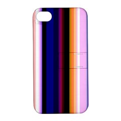 Fun Striped Background Design Pattern Apple Iphone 4/4s Hardshell Case With Stand