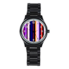 Fun Striped Background Design Pattern Stainless Steel Round Watch