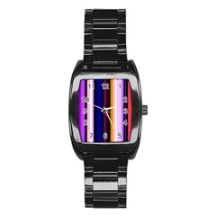 Fun Striped Background Design Pattern Stainless Steel Barrel Watch