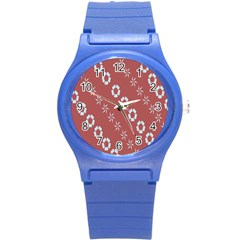 Abstract Pattern Background Wallpaper In Pastel Shapes Round Plastic Sport Watch (s)