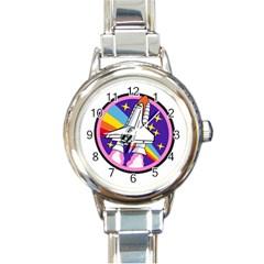 Badge Patch Pink Rainbow Rocket Round Italian Charm Watch
