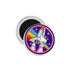 Badge Patch Pink Rainbow Rocket 1.75  Magnets
