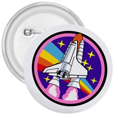 Badge Patch Pink Rainbow Rocket 3  Buttons
