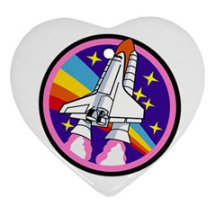 Badge Patch Pink Rainbow Rocket Ornament (heart)