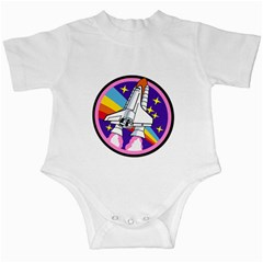 Badge Patch Pink Rainbow Rocket Infant Creepers