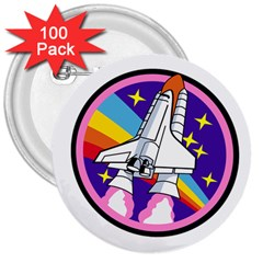 Badge Patch Pink Rainbow Rocket 3  Buttons (100 Pack)