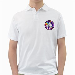 Badge Patch Pink Rainbow Rocket Golf Shirts