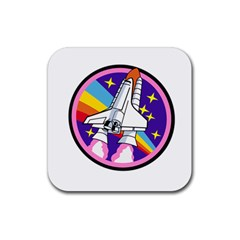 Badge Patch Pink Rainbow Rocket Rubber Coaster (Square)