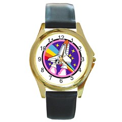 Badge Patch Pink Rainbow Rocket Round Gold Metal Watch