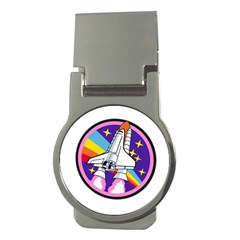Badge Patch Pink Rainbow Rocket Money Clips (round)