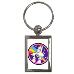 Badge Patch Pink Rainbow Rocket Key Chains (rectangle)