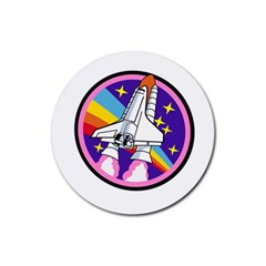 Badge Patch Pink Rainbow Rocket Rubber Round Coaster (4 Pack)