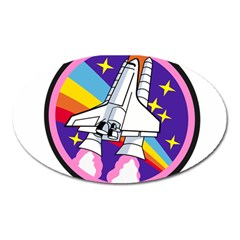 Badge Patch Pink Rainbow Rocket Oval Magnet