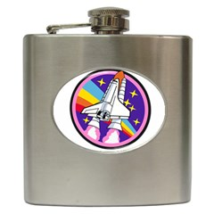 Badge Patch Pink Rainbow Rocket Hip Flask (6 Oz)