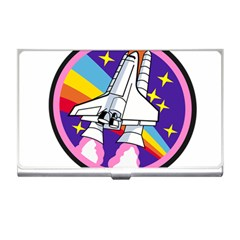 Badge Patch Pink Rainbow Rocket Business Card Holders