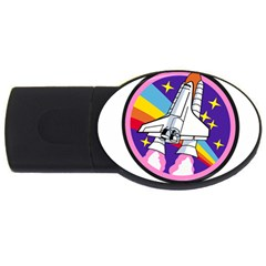 Badge Patch Pink Rainbow Rocket Usb Flash Drive Oval (2 Gb)
