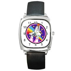 Badge Patch Pink Rainbow Rocket Square Metal Watch
