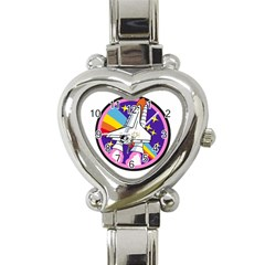Badge Patch Pink Rainbow Rocket Heart Italian Charm Watch