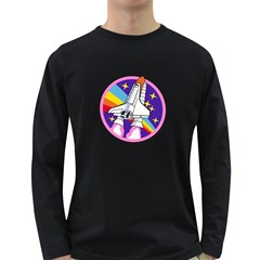 Badge Patch Pink Rainbow Rocket Long Sleeve Dark T Shirts