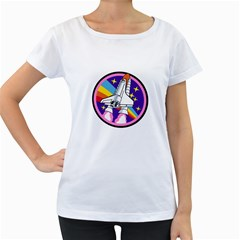 Badge Patch Pink Rainbow Rocket Women s Loose Fit T Shirt (white)