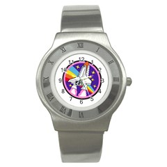 Badge Patch Pink Rainbow Rocket Stainless Steel Watch