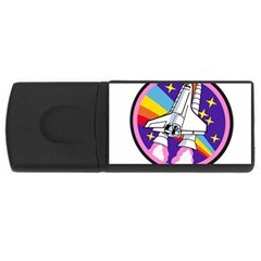 Badge Patch Pink Rainbow Rocket Usb Flash Drive Rectangular (4 Gb)