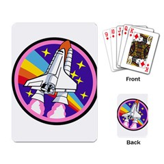 Badge Patch Pink Rainbow Rocket Playing Card