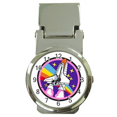 Badge Patch Pink Rainbow Rocket Money Clip Watches