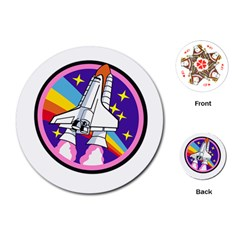 Badge Patch Pink Rainbow Rocket Playing Cards (round)