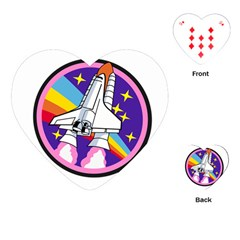 Badge Patch Pink Rainbow Rocket Playing Cards (heart)