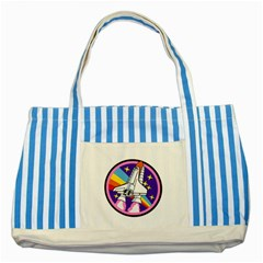 Badge Patch Pink Rainbow Rocket Striped Blue Tote Bag