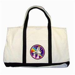 Badge Patch Pink Rainbow Rocket Two Tone Tote Bag