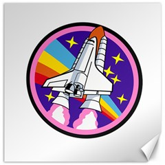 Badge Patch Pink Rainbow Rocket Canvas 20  X 20