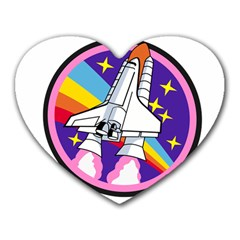 Badge Patch Pink Rainbow Rocket Heart Mousepads