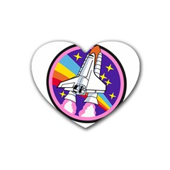 Badge Patch Pink Rainbow Rocket Rubber Coaster (heart)