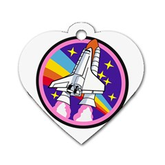 Badge Patch Pink Rainbow Rocket Dog Tag Heart (one Side)