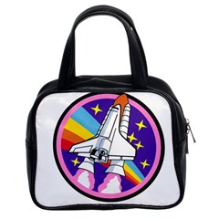 Badge Patch Pink Rainbow Rocket Classic Handbags (2 Sides)