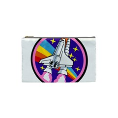 Badge Patch Pink Rainbow Rocket Cosmetic Bag (small)