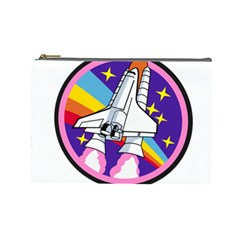 Badge Patch Pink Rainbow Rocket Cosmetic Bag (large)