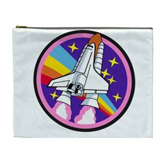 Badge Patch Pink Rainbow Rocket Cosmetic Bag (XL)