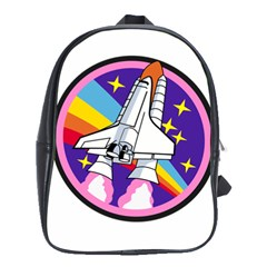 Badge Patch Pink Rainbow Rocket School Bags(large)