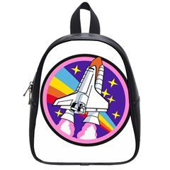 Badge Patch Pink Rainbow Rocket School Bags (Small)
