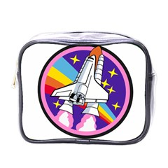 Badge Patch Pink Rainbow Rocket Mini Toiletries Bags