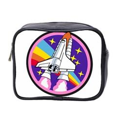 Badge Patch Pink Rainbow Rocket Mini Toiletries Bag 2 Side