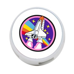 Badge Patch Pink Rainbow Rocket 4 Port Usb Hub (one Side)