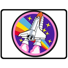 Badge Patch Pink Rainbow Rocket Fleece Blanket (large)